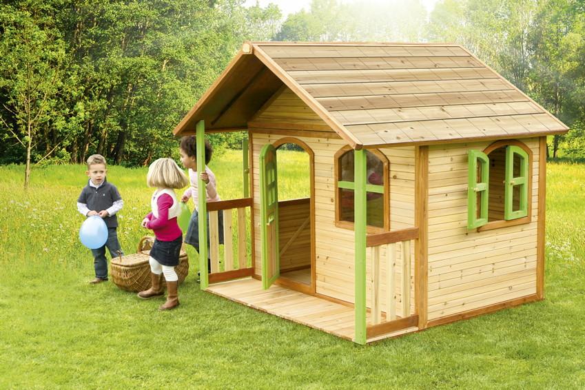 kinder-holz-spielhaus axi «milan» kinderspielhaus mit terrasse,